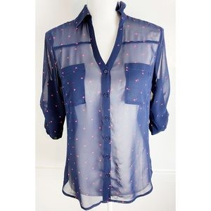 Express • Navy With Pink Hearts Portofino Blouse